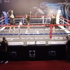 Performance of the string trio Verona at the grand opening of the Grand Final of the Rostec boxing championship in impact force